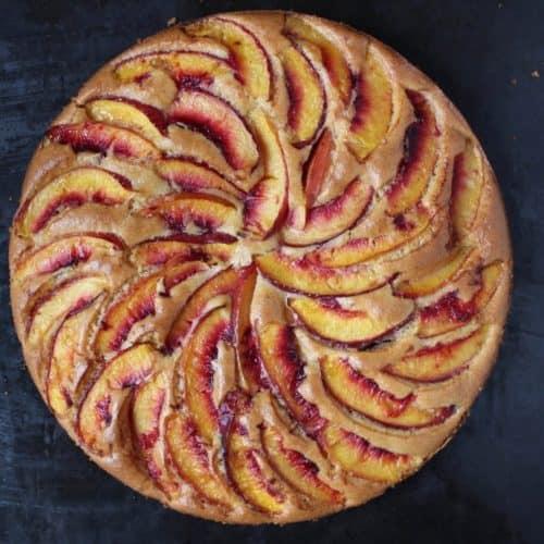 Peach Almond Olive Oil Cake