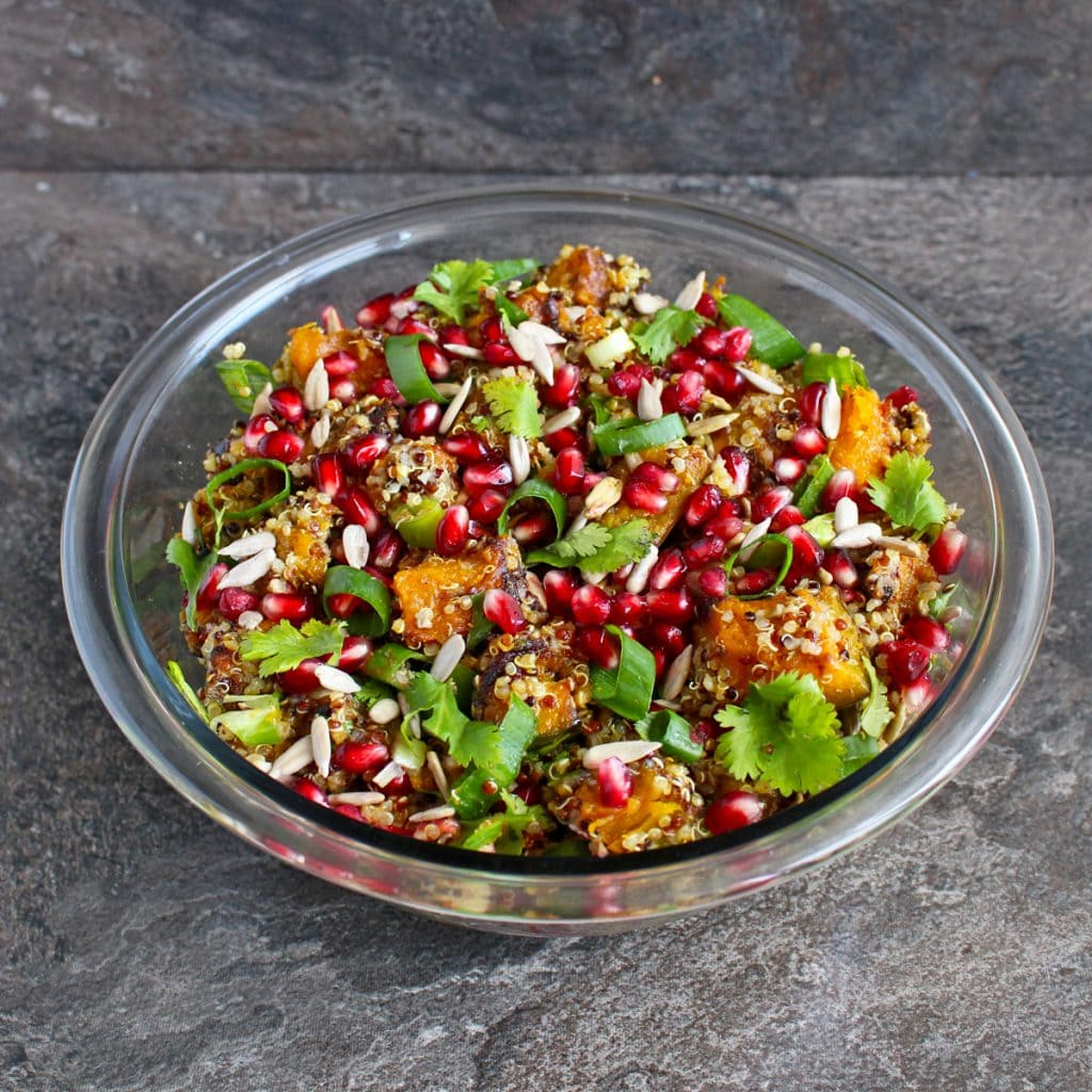Fall Salad in a Glass Bowl