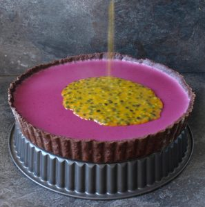 Blackberry Panna Cotta Tart with Passion Fruit