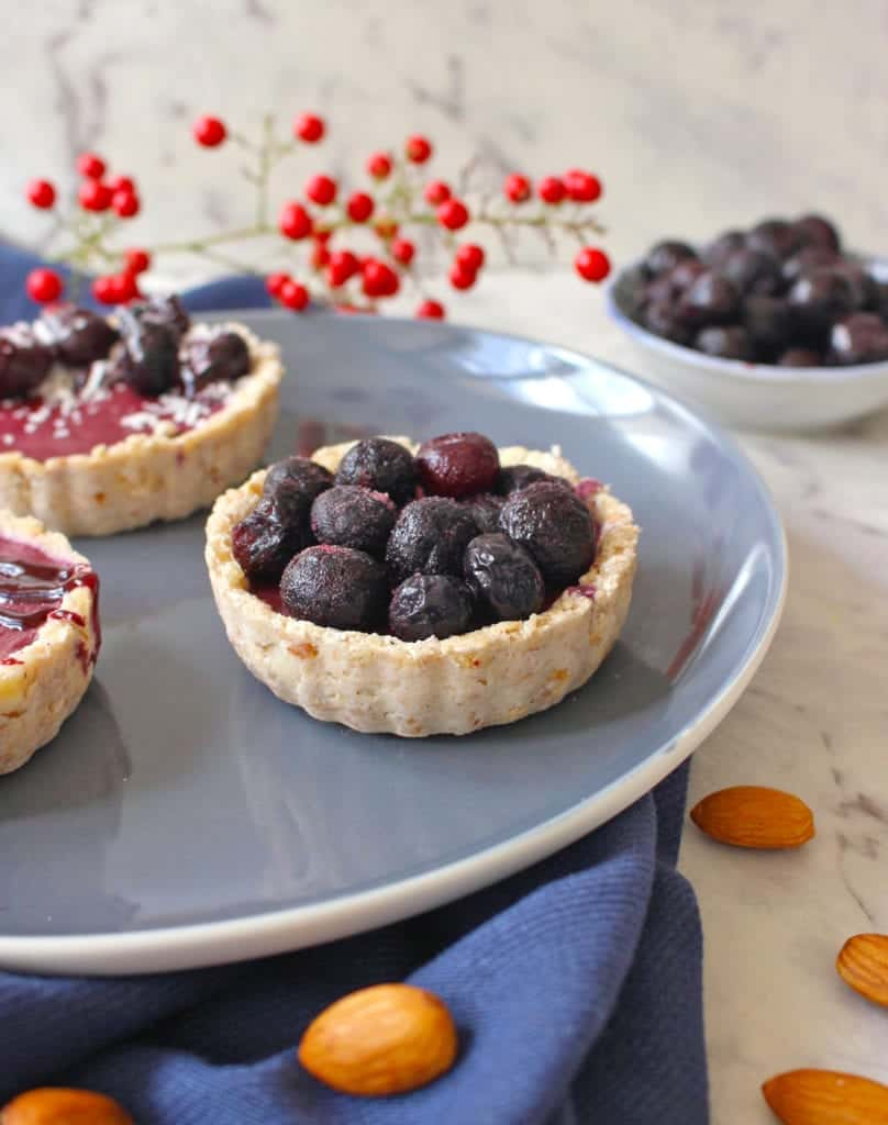 Tartlet topped with frozen blueberries