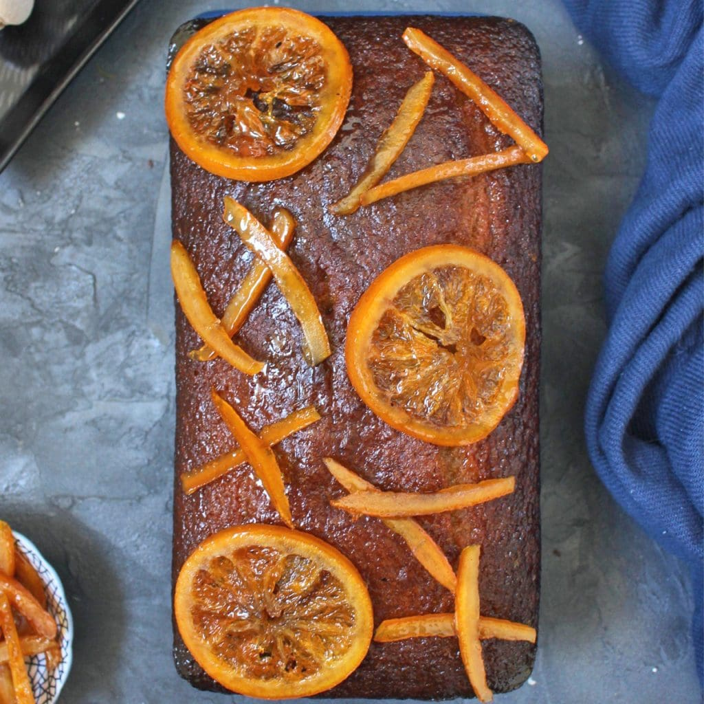 Orange Glazed Spiced Honey Cake with Candied Oranges