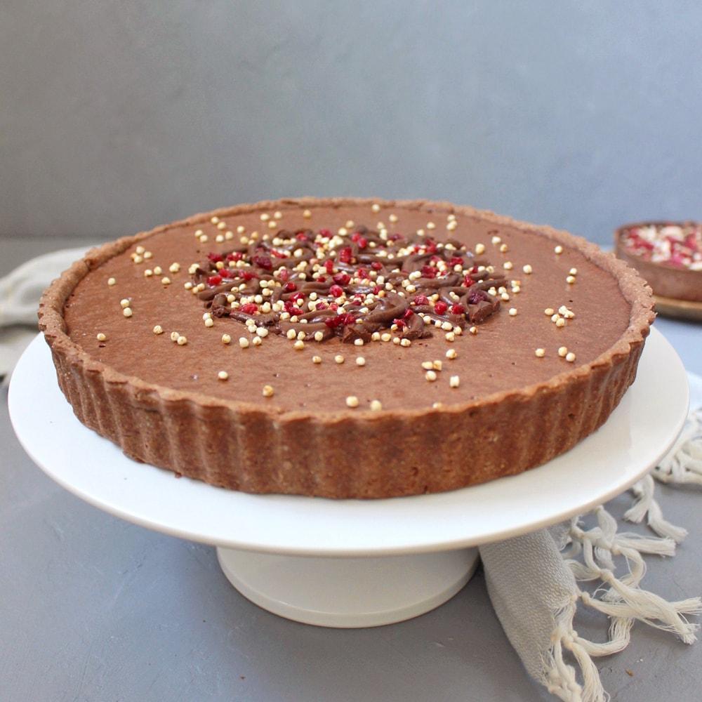 Vegan Chocolate Mousse Tart with Raspberries