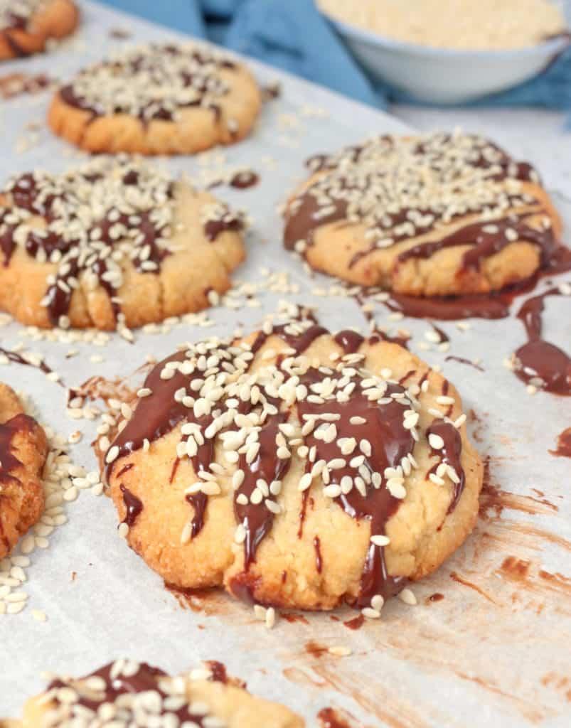 Vegan Almond Tahini Cookies with Dark Chocolate