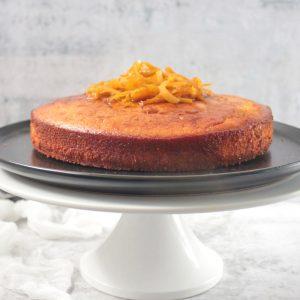 Gluten Free Almond Orange Cake on a Cake Stand