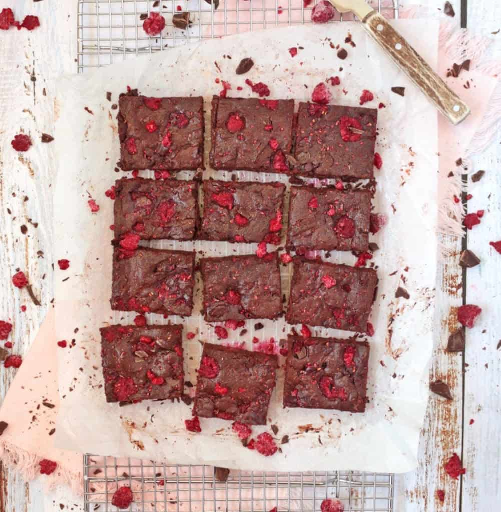 Brownies from above on baking paper