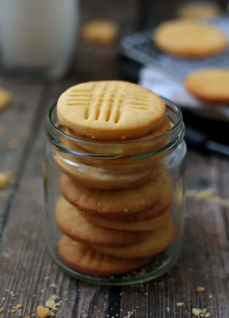 Stack of French Cookies in a glass jar