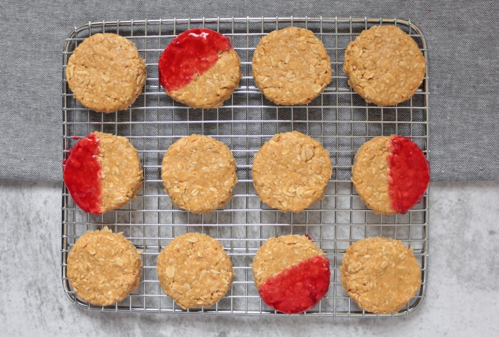 No Bake Peanut Butter Cookies flat lay on a cooling rack.