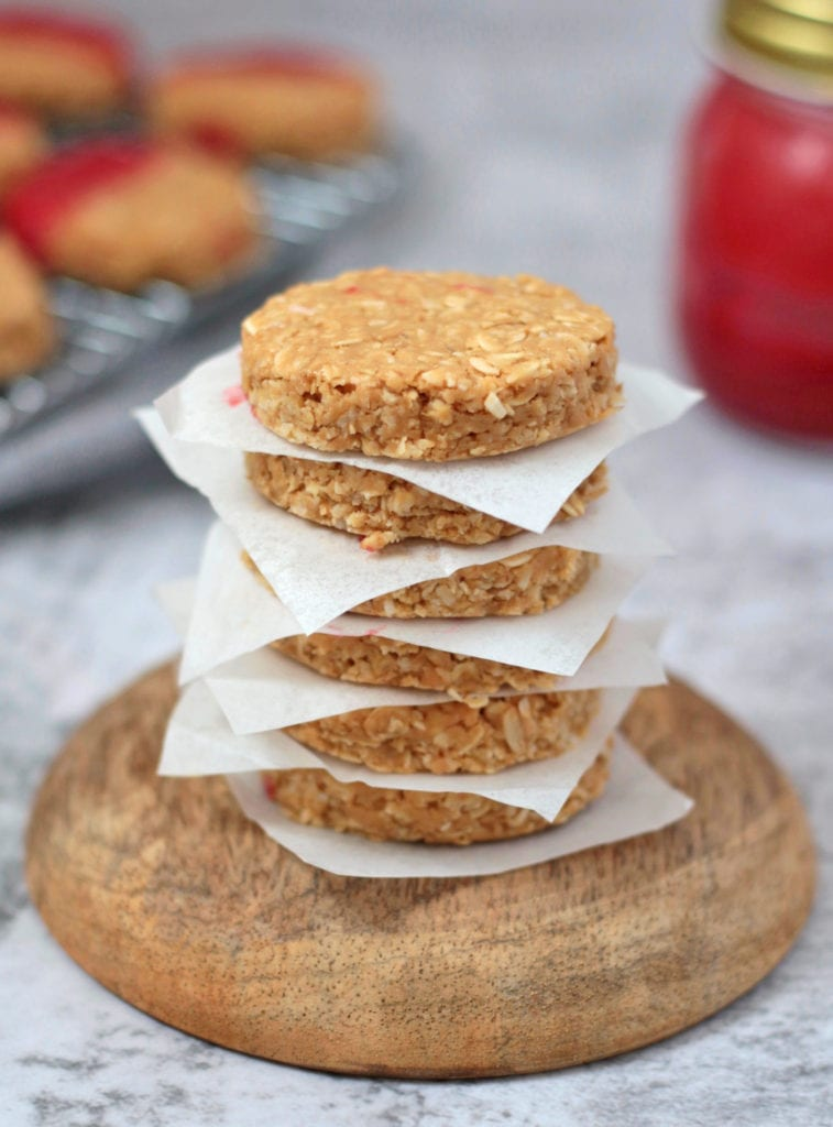 Stack of No Bake Peanut Butter Cookies