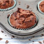 One Chocolate and Zucchini Muffin in the muffin pan