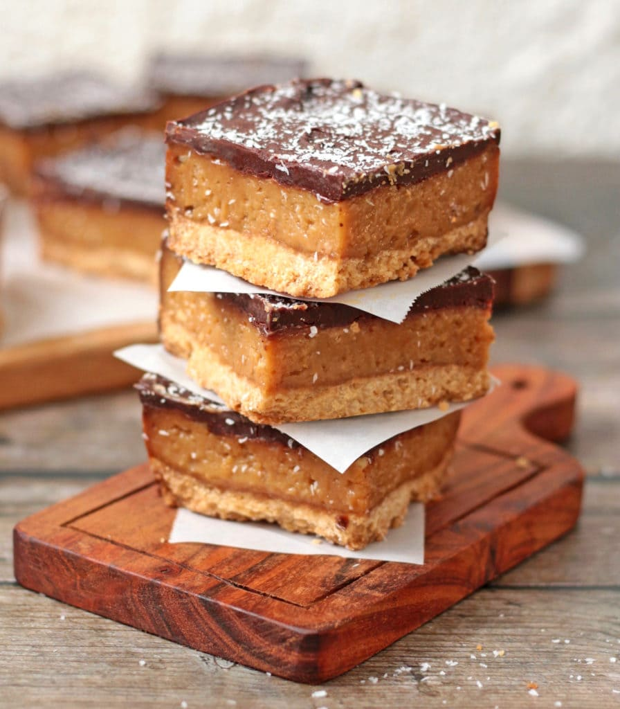 Stack of three caramel slices