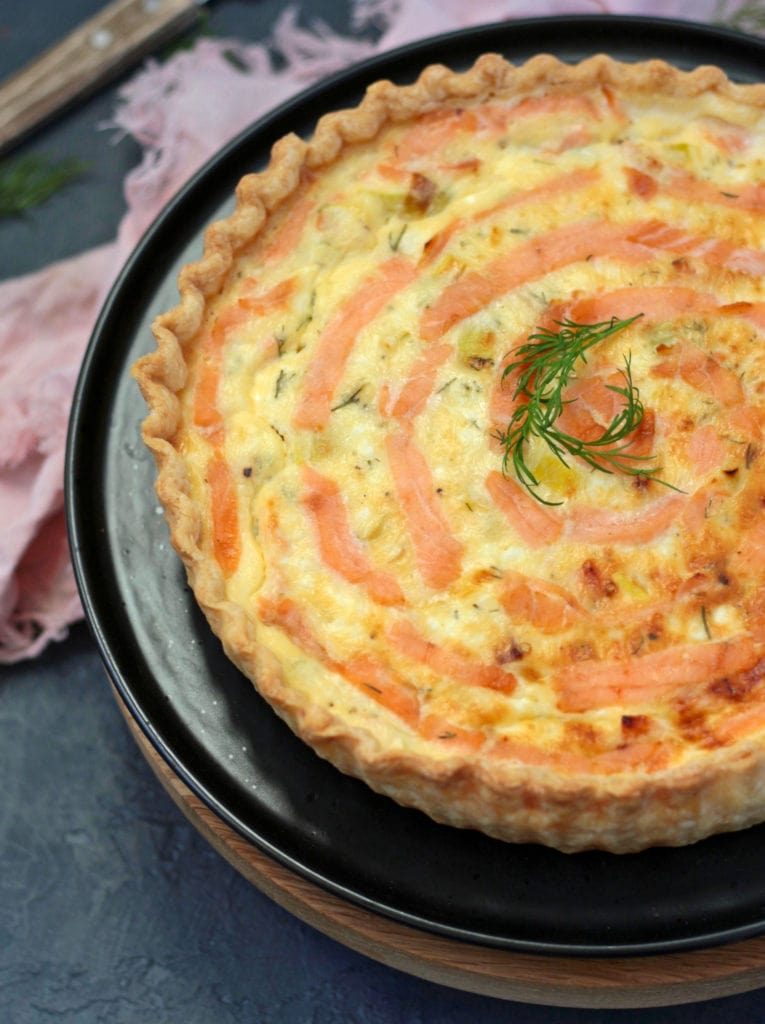 Close up on the Smoked Salmon Quiche