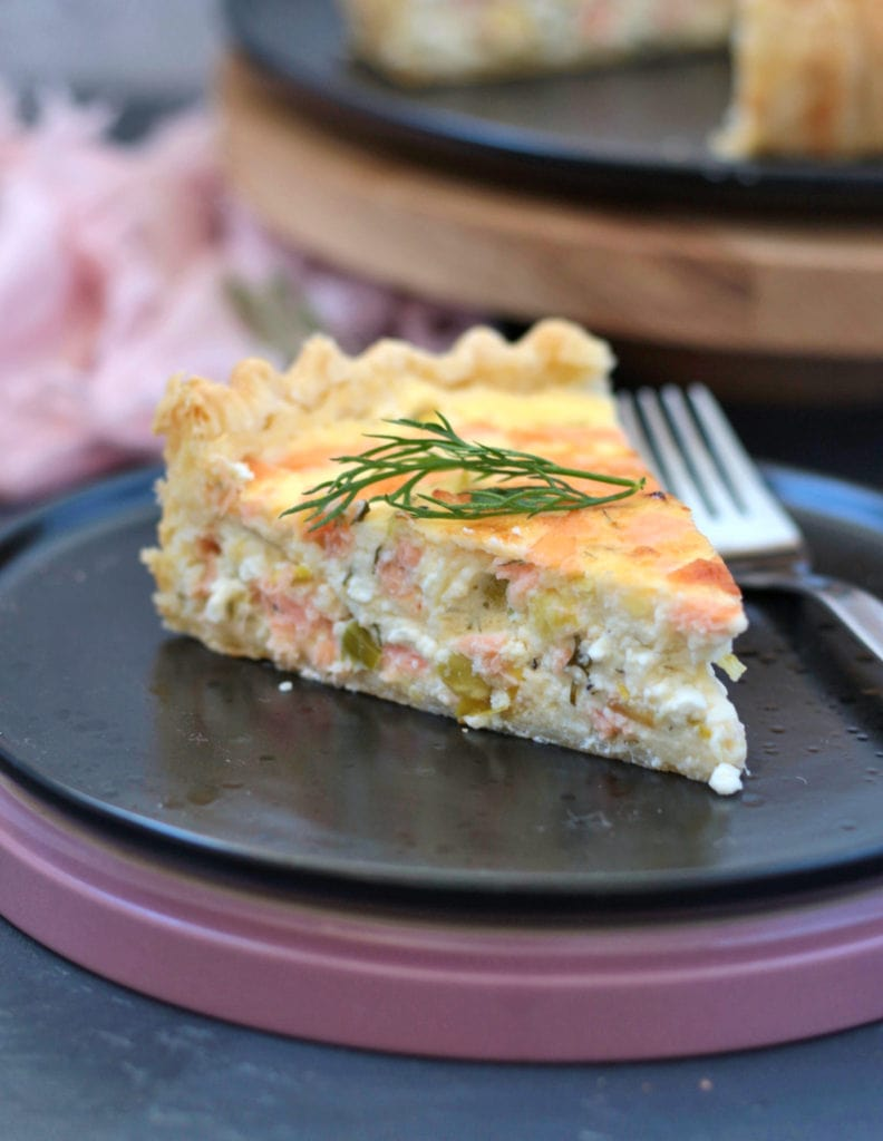 One slice of the quiche - close up
