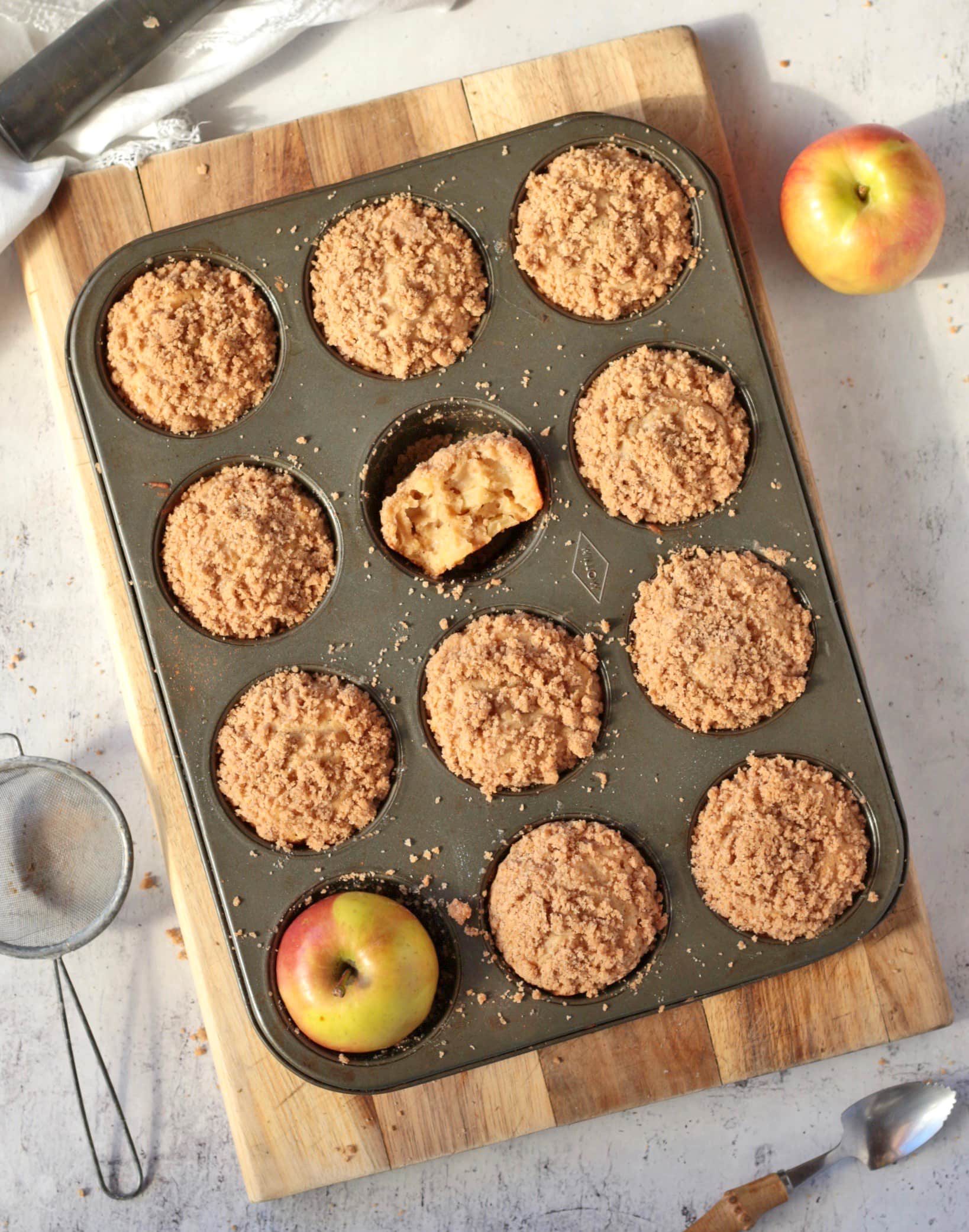 Streusel Muffins from above in the baking pan
