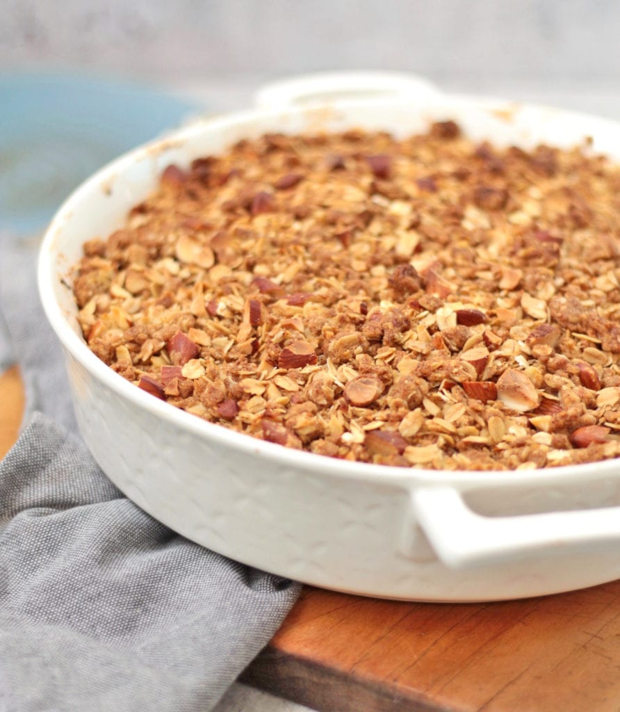 Close up on the crumble just out of the oven