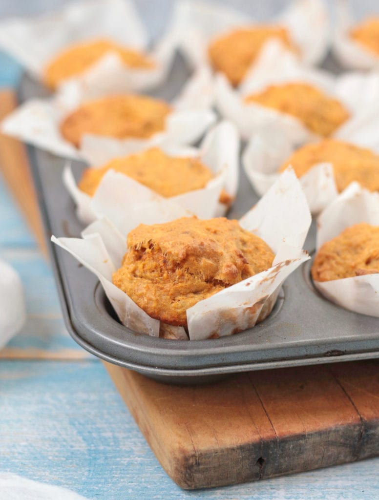 close up on a carrot muffin in the pan