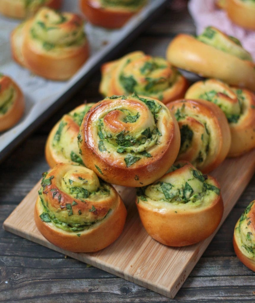 Spinach and Ricotta Rolls on a serving board