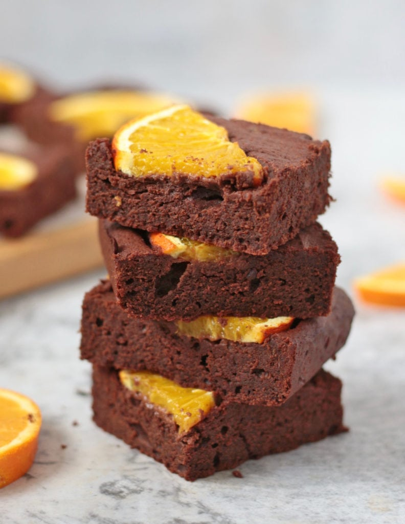 Brownie Stack with pieces of orange