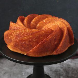 Cake on a black cake stand