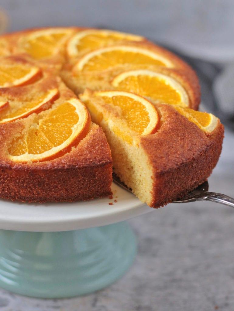 A slice of semolina almond cake