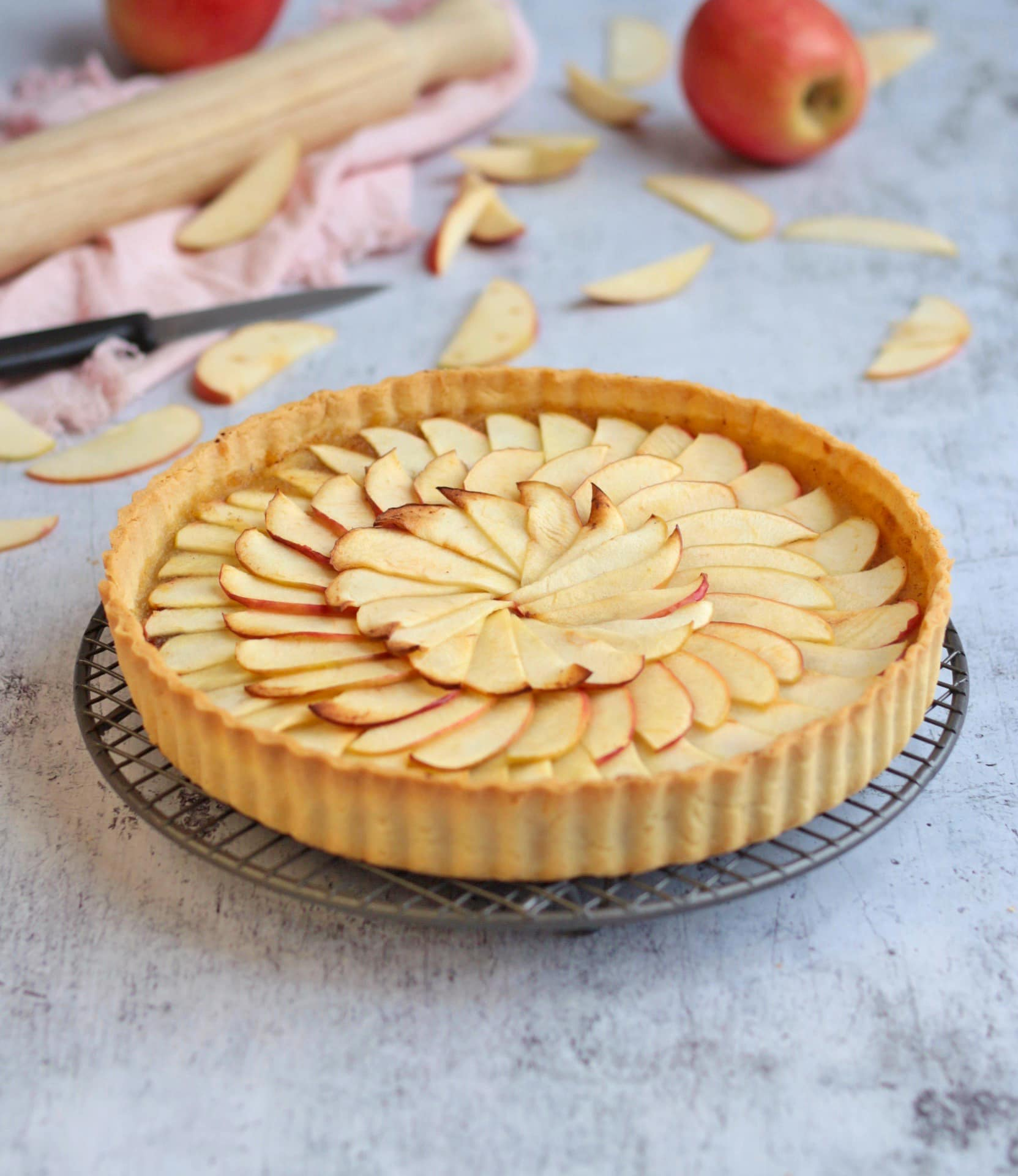 French Apple Tart on a cooling rack