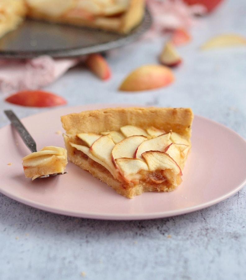 A slice of Apple Tart on a plate