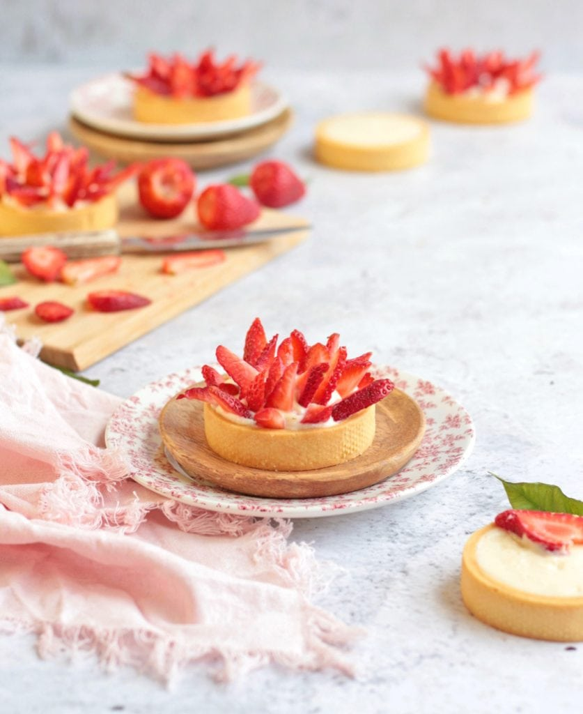 Small Strawberry Tart on a plate