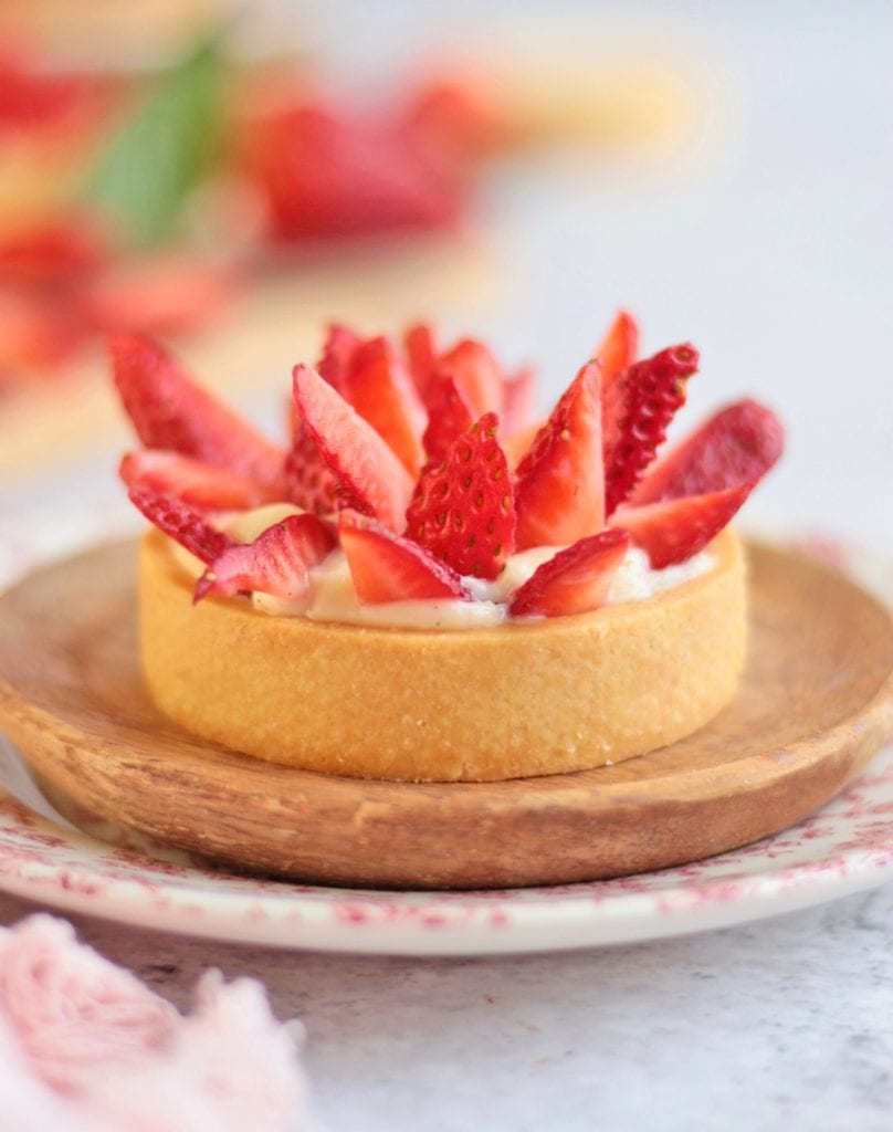 Close up on the Strawberry Tartlet with Custard