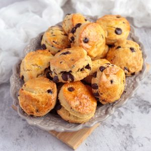 Scones on a grey serving plate