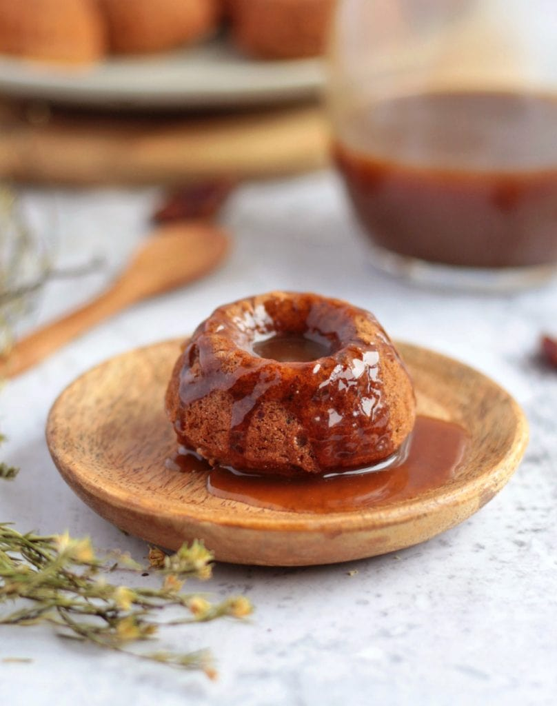 Date Pudding with Caramel Sauce in the background