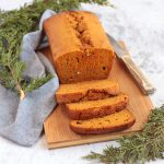 Carrot Loaf Cake on a wooden board