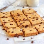 Sliced Chocolate Chip Blondie Bars on baking paper