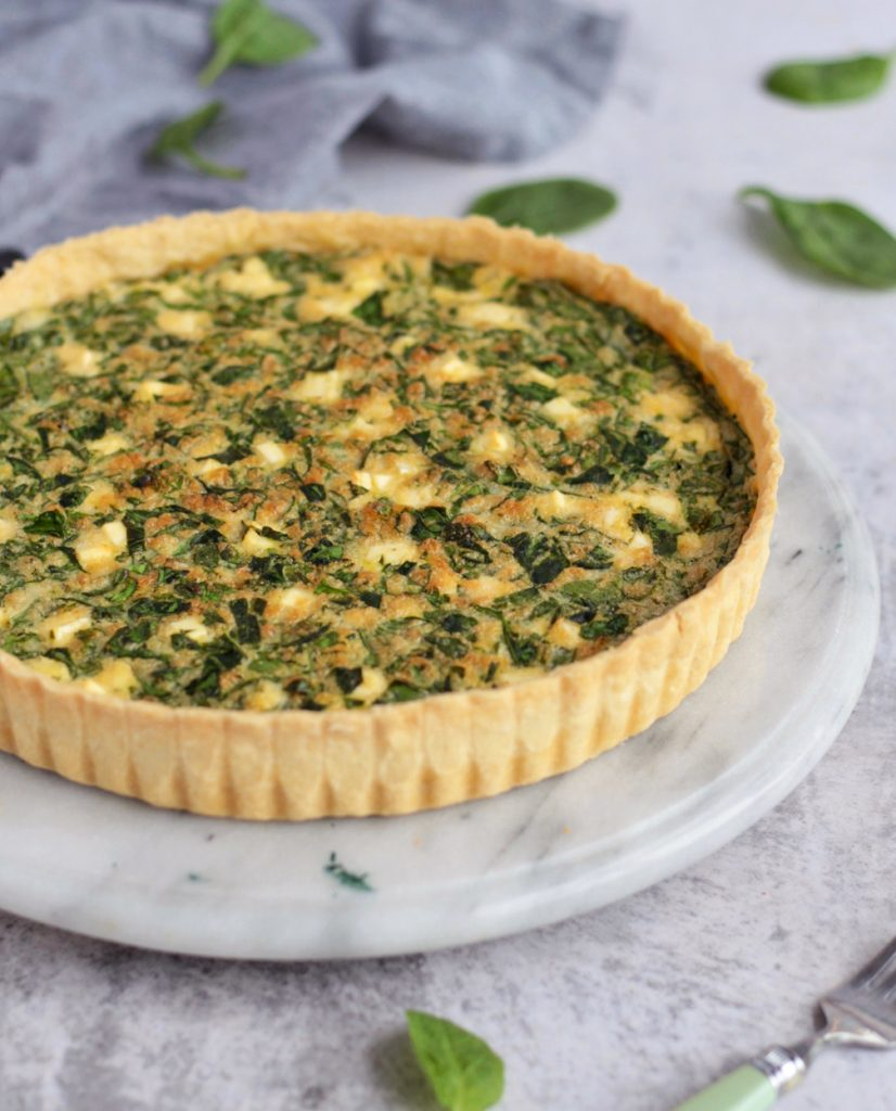 Spinach Quiche viewed from the side