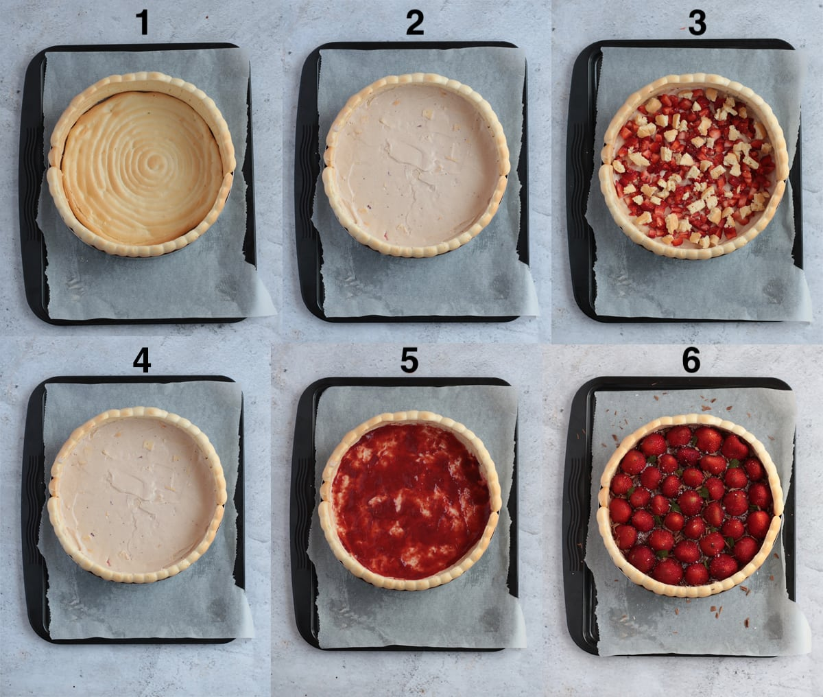 Process Shots of Assembling the Strawberry Cake