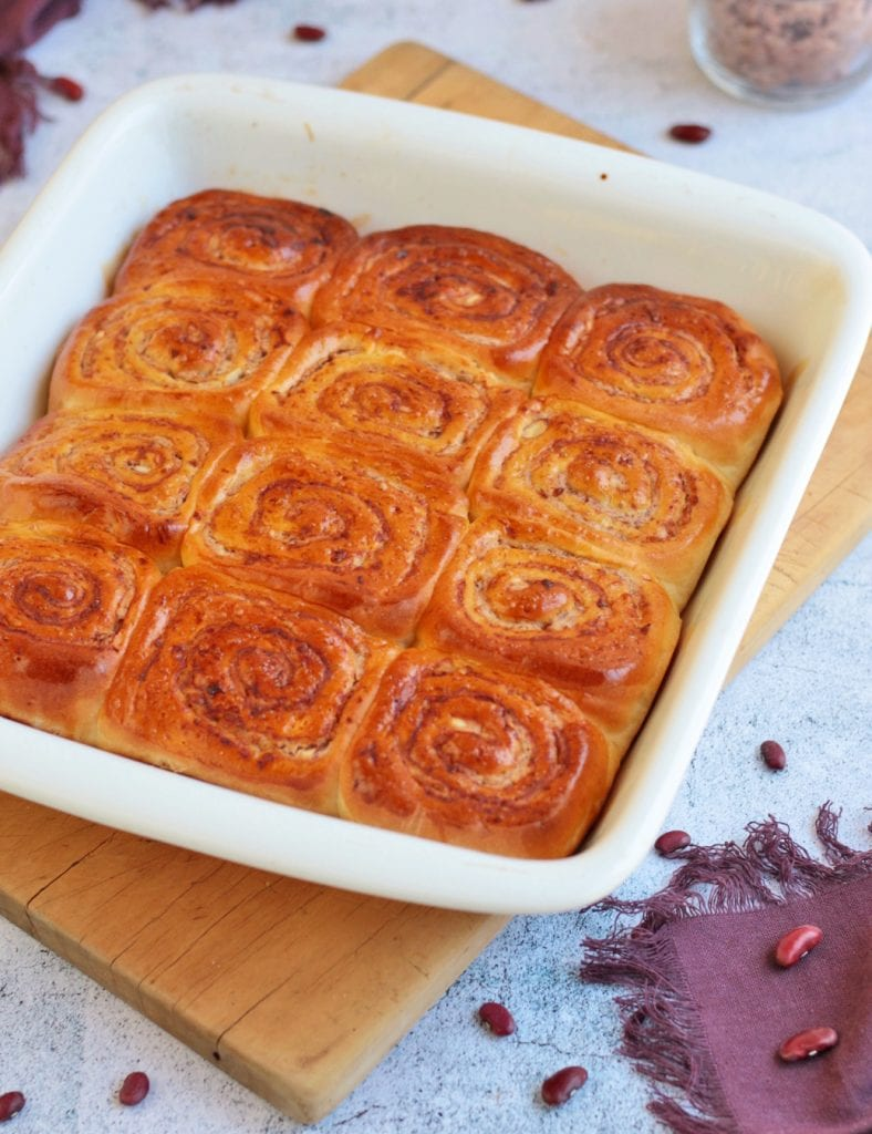 12 rolls in a white baking pan