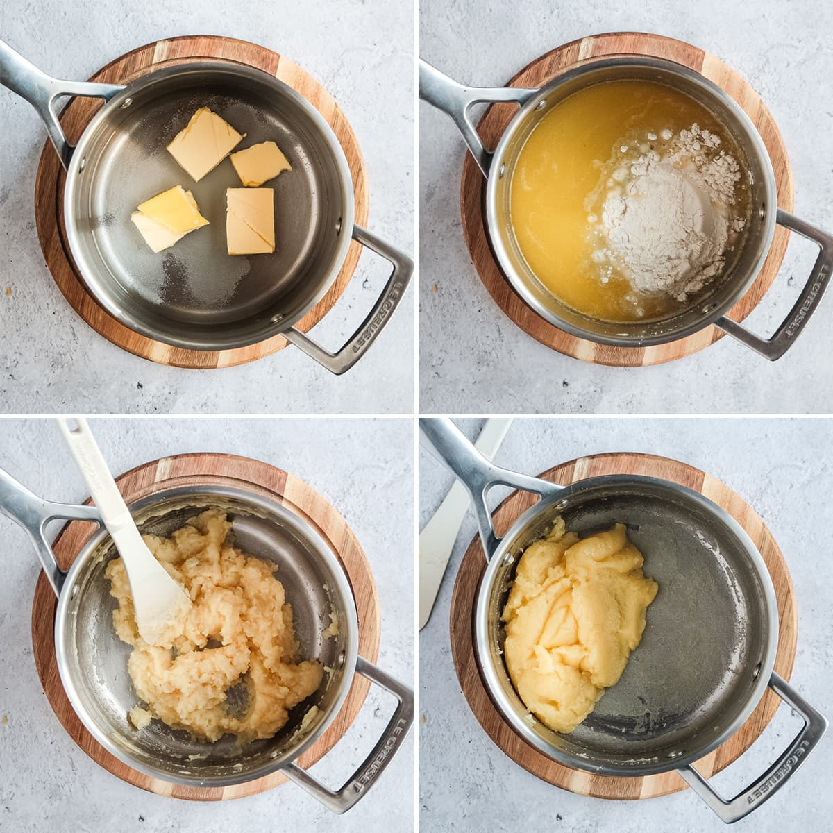 Making choux pastry: step 1 to 4
