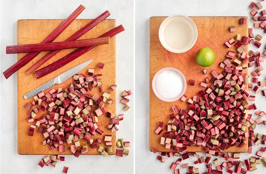 Slicing the Rhubarb and preparing the ingredients