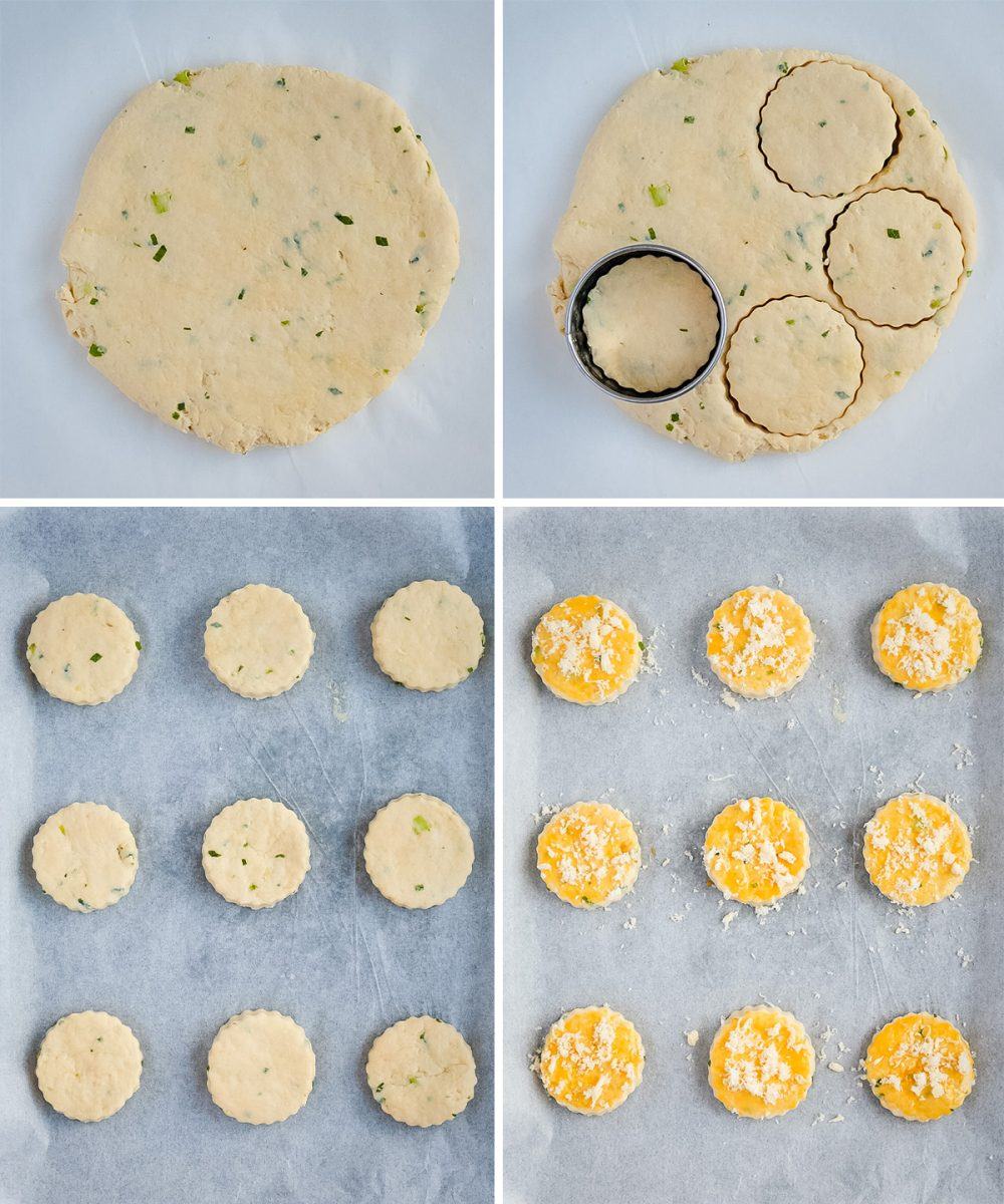 Process Shot: cutting and preparing the scones for baking