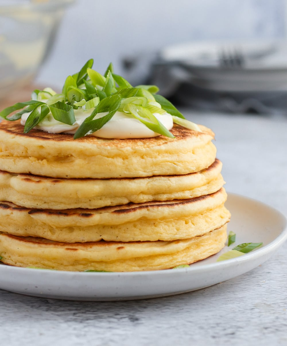 Side view on the stack of cheese pancakes