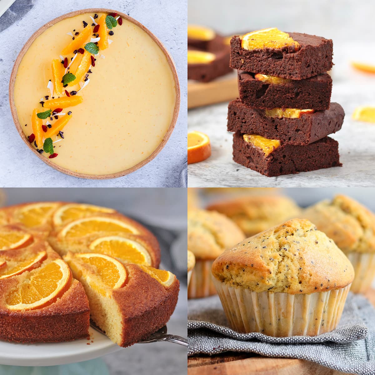 4 Orange Desserts on a grid