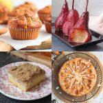 Four pear desserts in a grid