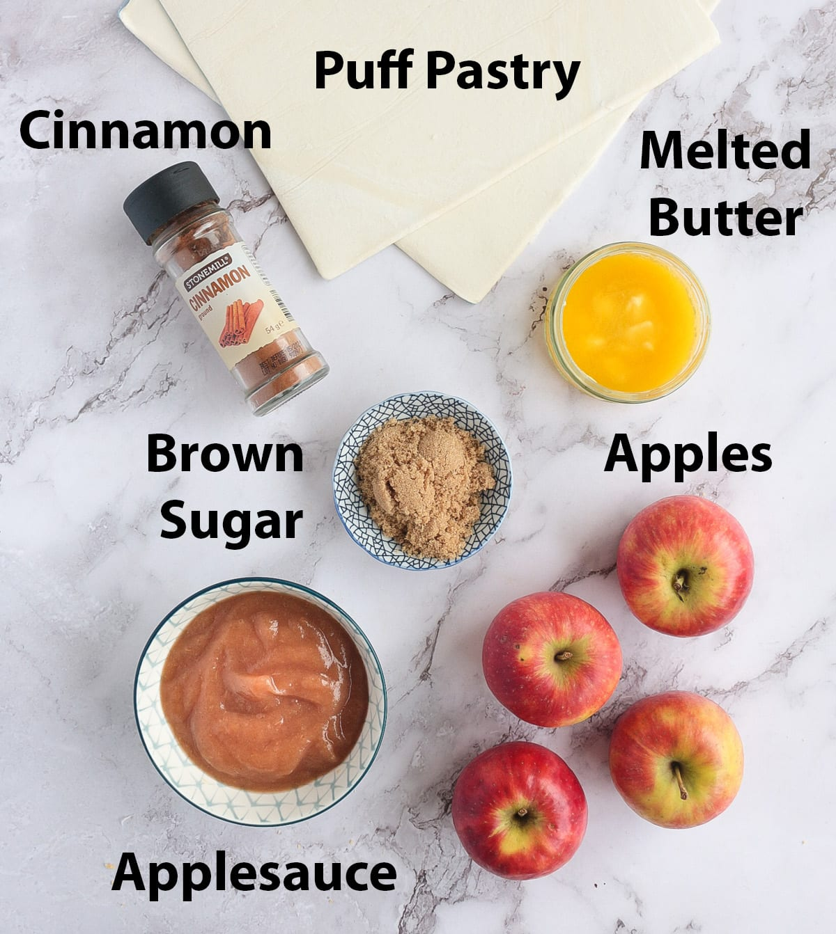 Recipe Ingredients placed on a marble surface.
