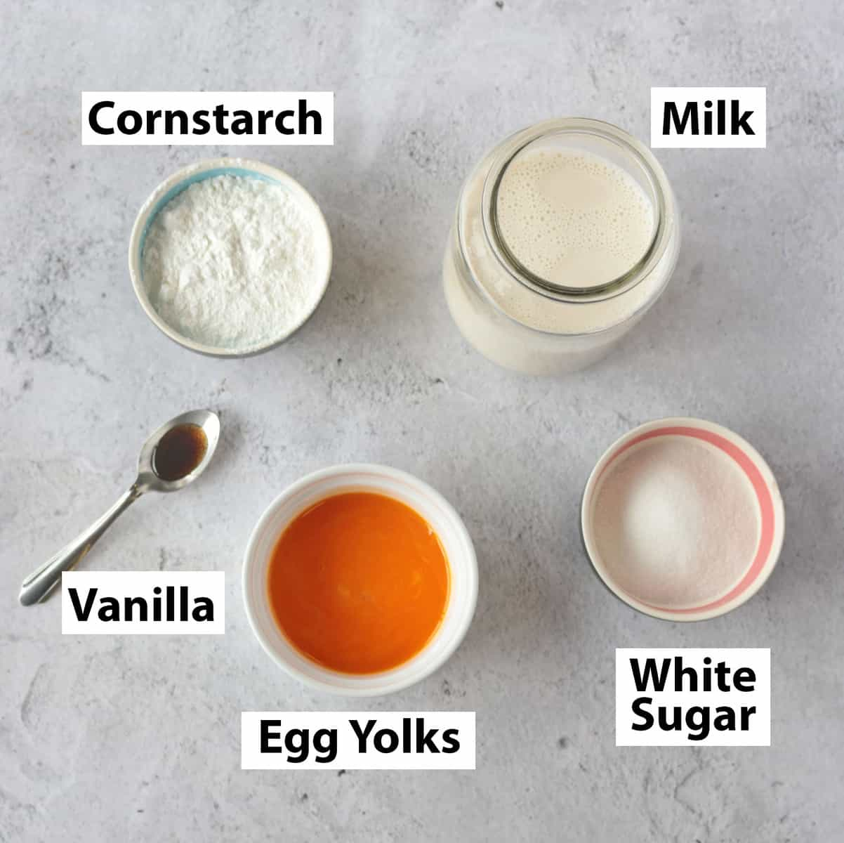 Ingredients for Creme Patissiere on a grey surface.