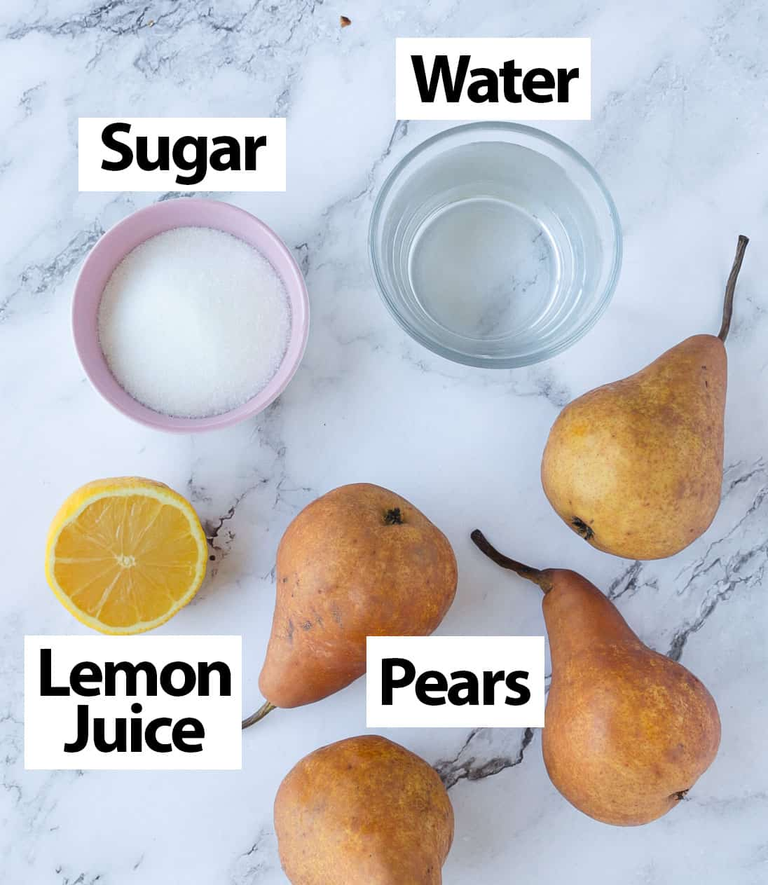 Poached Pears Ingredients.