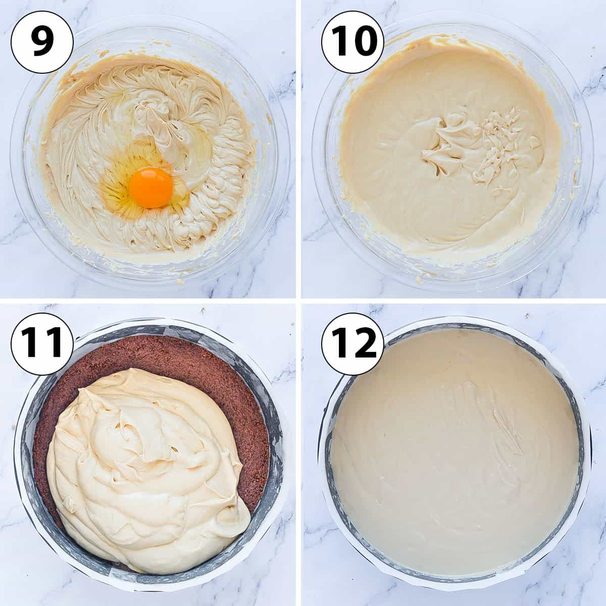 Process Shot Collage: adding the eggs and pouring the cheesecake into springform pan.