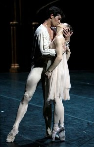 Alina Cojocaru + Roberto Bolle in, Romeo &  Juliet  (Wearing her Gayners....) I don't know who the photo cred goes to but it was on tumblr via ballet-is-our-way-out.