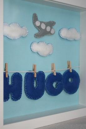 Fondo de tela azul, y fieltro para nombre y adornos. Las pinzas hacen a Hugo volar!!!!