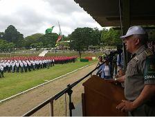 Coronel Alfeu Freitas Moreira, comandante-geral da BM, dá as boas vindas aos novos integrantes da família brigadiana