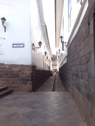 Cusco's narrow streets with Inca architecture