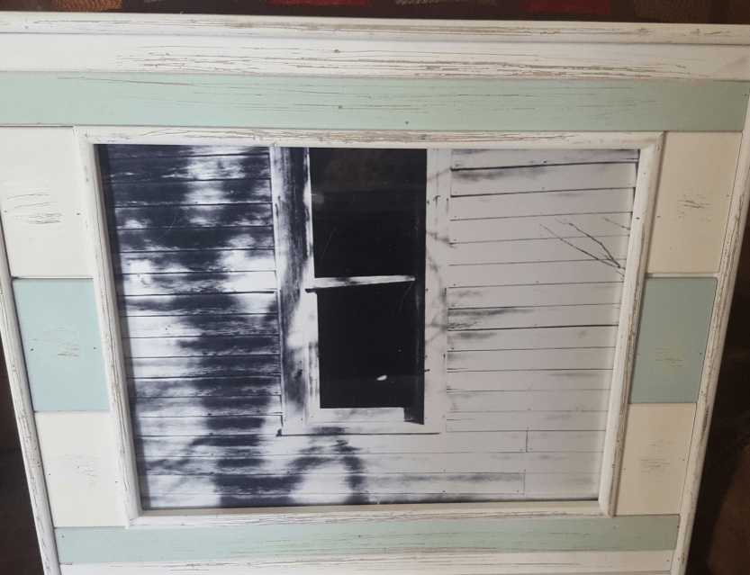 8x10 black and white metallic print in a vintage-looking green and white wood frame. $22.png