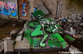 Collapsed Wall With Graffiti